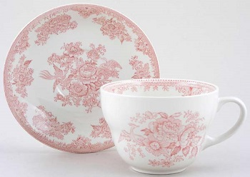 Burleigh Asiatic Pheasants pink Breakfast cup \w Saucer