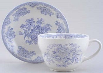 Burleigh Asiatic Pheasants Blue Breakfast cup \w Saucer