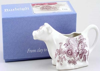 Burleigh Asiatic Pheasants plum Cow Creamer Boxed
