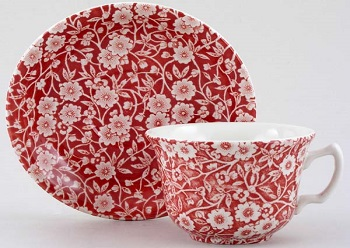 Burleigh Calico Red Teacup \w saucer