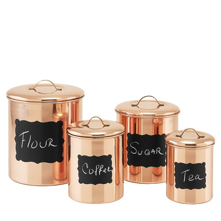 4 Pc. Copper Chalkboard Canister Set w/Fresh Seal Covers