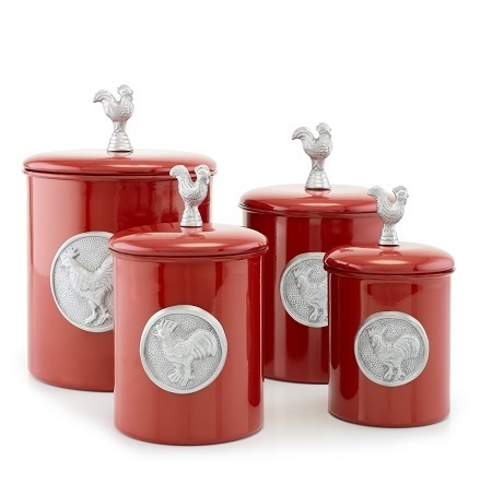 4 Pc. Red Rooster Canister Set w/Rooster Medallion & Knob, w/Fresh Seal Covers