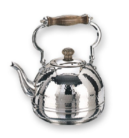 Stainless Steel Hammered Teakettle w/Wood Handle