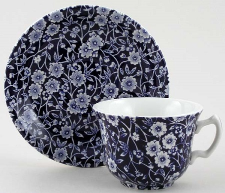 Burleigh Blue Calico Teacup and Saucer