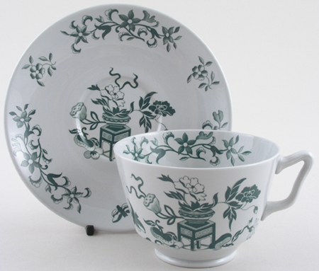 Spode Bowpot Green Breakfast Cup and Saucer