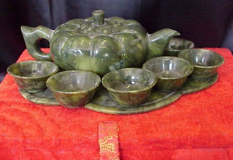 image of Jade teapot set