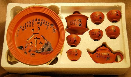 Oriental Porcelain Orange Tea Set