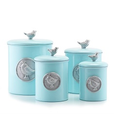 Lauren Blue Bird Canister Set w/Bird Medallion & Knob, w/Fresh Seal Covers