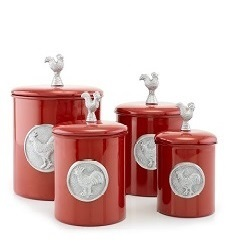 Red Rooster Canister Set w/Rooster Medallion & Knob, w/Fresh Seal Covers