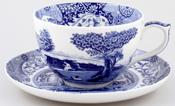 Spode Blue Italian Cup and Saucer jumbo