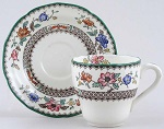 Spode Chinese Rose colour Coffee Cup and Saucer